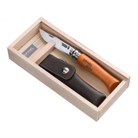 N°08 VRN zatvárací nôž OPINEL Carbon s púzdrom v drevenej kazete