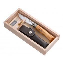 N°08 VRI zatvárací nôž OPINEL Luxury olivová rukoveť s púzdrom v drevenej kazete