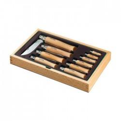 Sada 10 zavíracích nožů OPINEL Inox v dřevěné kazetě