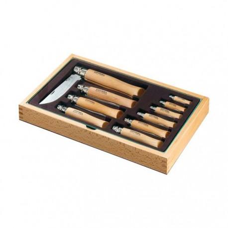 Sada 10 zatváracích nôžov OPINEL Inox v drevenej kazete