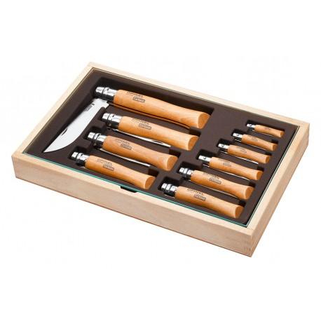 Sada 10 zavíracích nožů OPINEL Carbon v dřevěné kazetě