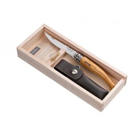 N°10 VRI zatvárací nôž OPINEL Slim olivová rukoveť s púzdrom v drevenej kazete