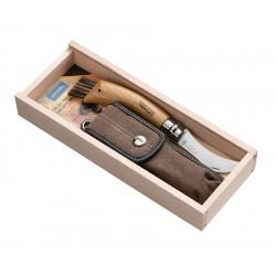 N°08 VRI zatvárací nôž OPINEL hubársky so štetcom s púzdrom v drevenej kazete