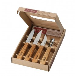 Set of 3 kitchen knives + peeler OPINEL Essentials Natural