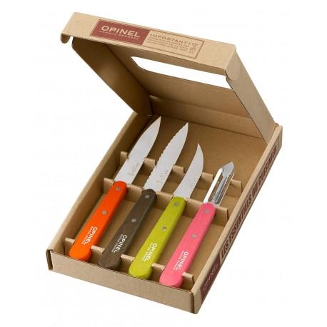 Set of 3 kitchen knives + peeler OPINEL Essentials 50´s