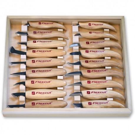 Sada 18 rezbárskych nožov Flexcut KN250 v drevenej kazete