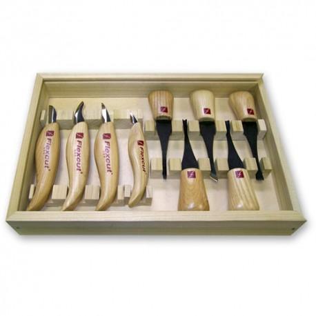 Sada 9 řezbářských nástrojů Flexcut KN700 (4 nože a 5 dlát)