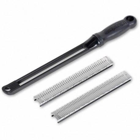 32015 Large snap in rasp with interchangable blades 200mm Microplane incl. rough and fine blades