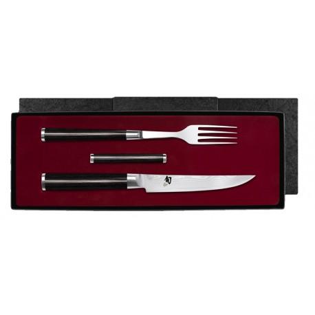 DM-0907 SHUN Vidlička so stejkovým nožom a podložkou