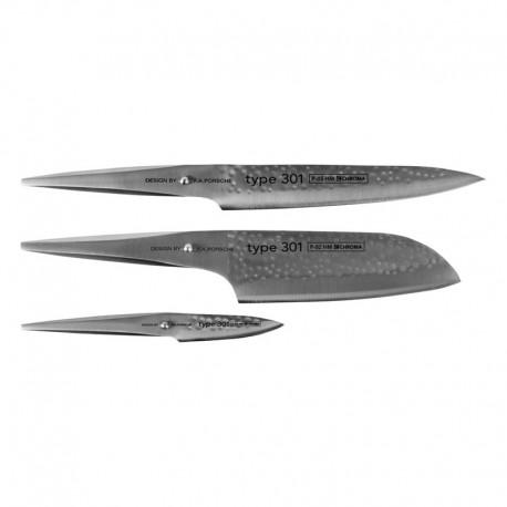 P-529HM Type 301 Hammered 3 knives set CHROMA - P2HM+P5HM+P9HM