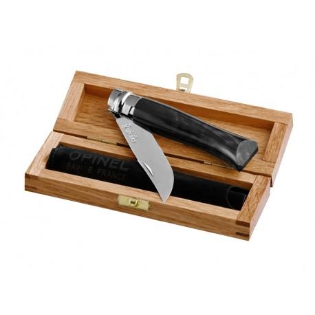 N°08 VRI zatvárací nôž OPINEL Luxury rohovinová rukoveť s púzdrom v drevenej kazete