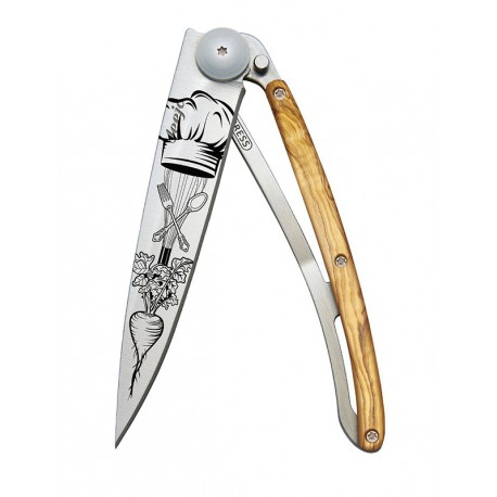 1CB065 Tattoo CHEF nůž Deejo 37g Olive