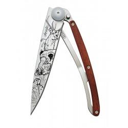 1CB068 Tattoo HUNTING SCENE knife Deejo 37g Coralwood